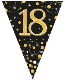 18th Sparkling Fizz Black & Gold Holographic Party Bunting 11 flags 3.9m