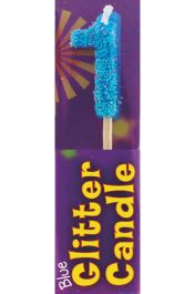 1st Birthday Blue Glitter Candle (Pack of 12)