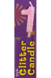 1st Birthday Pink Glitter Candle (Pack of 12)