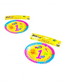 1st Birthday Plates ( 7 Inches) Pack of 12