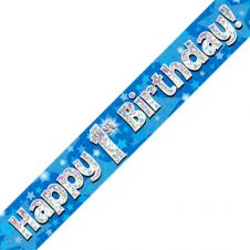 1st Happy Birthday Banner Blue Holographic (9 ft)