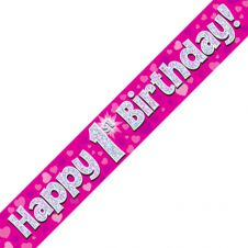 1st Happy Birthday Banner Pink Holographic (9 ft)