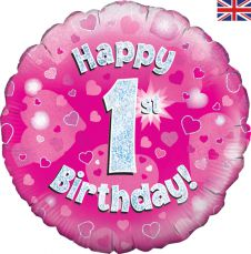1st Happy Birthday Pink Holographic Balloon (18 Inches)