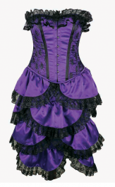 Crazy Chick Steel Boned Full Bust Bustle Purple Lace Corset (2 Pcs)