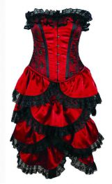 Crazy Chick Steel Boned Full Bust Bustle Red Lace Corset (2 Pcs)