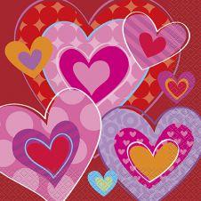 20 I Heart Valentine Lunch Napkins