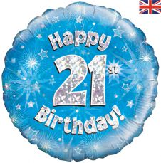 21st Happy Birthday Blue Holographic Balloon (18 Inches)