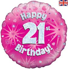 21st Happy Birthday Pink Holographic Balloon (18 Inches)