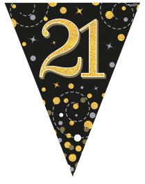21th Sparkling Fizz Black & Gold Holographic Party Bunting 11 flags 3.9m