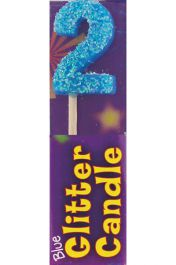 2nd Birthday Blue Glitter Candle (Pack of 12)