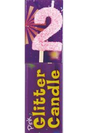 2nd Birthday Pink Glitter Candle (Pack of 12)