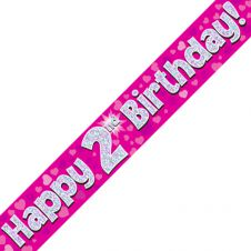 2nd Happy Birthday Banner Pink Holographic (9 ft)