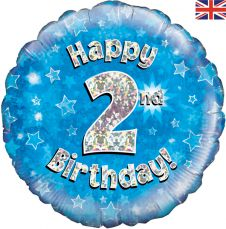 2nd Happy Birthday Blue Holographic Balloon (18 Inches)