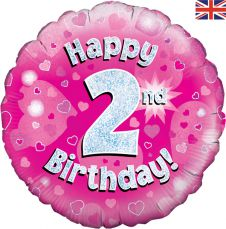 2nd Happy Birthday Pink Holographic Balloon (18 Inches)