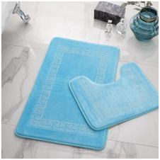 2PC DIAMOND MEMORY BATH MAT AQUA - 41167082