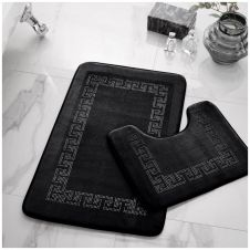 2PC DIAMOND MEMORY BATH MAT BLACK - 41167075