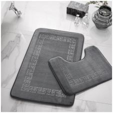 2PC DIAMOND MEMORY BATH MAT GREY - 41167068