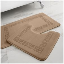 2PC DIAMOND MEMORY BATH MAT NATURAL - 41167051
