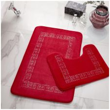 2PC DIAMOND MEMORY BATH MAT RED - 41167037