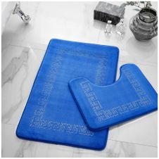 2PC DIAMOND MEMORY BATH MAT ROYAL BLUE - 41167006