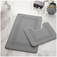 2PC DIAMOND MEMORY BATH MAT SILVER - 41167013