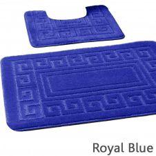2PC HANGER PACK GREEK BATH MAT ROYAL BLUE (15 PCS)