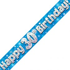 30th Happy Birthday Banner Blue Holographic (9 ft)