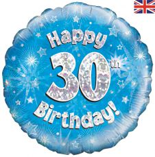 30th Happy Birthday Blue Holographic Balloon (18 Inches)