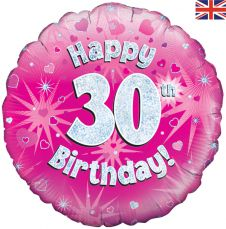 30th Happy Birthday Pink Holographic Balloon (18 Inches)