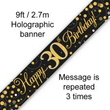 30th Sparkling Fizz Birthday Black & Gold Holographic Banner (9ft)