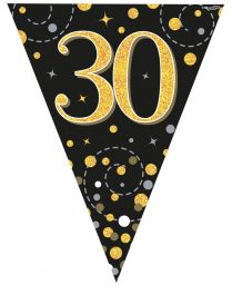 30th Sparkling Fizz Black & Gold Holographic Party Bunting 11 flags 3.9m