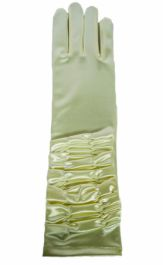 Cream Ruched Top Long Satin Gloves
