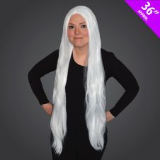36Inch Long White Wig