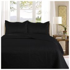 3PC PLAIN BED SPREAD SAMPHIRE BLACK