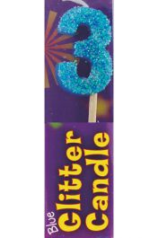 3rd Birthday Blue Glitter Candle (Pack of 12)