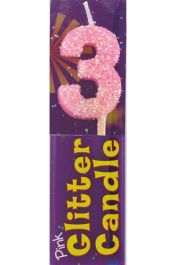 3rd Birthday Pink Glitter Candle (Pack of 12)