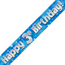 3rd Happy Birthday Banner Blue Holographic (9 ft)