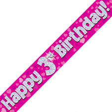 3rd Happy Birthday Banner Pink Holographic (9 ft)