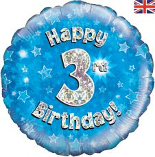 3rd Happy Birthday Blue Holographic Balloon (18 Inches)