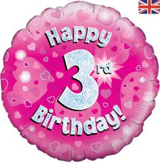 3rd Happy Birthday Pink Holographic Balloon (18 Inches)