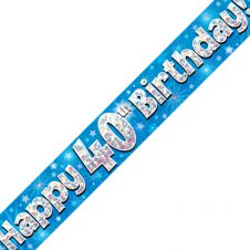 40th Happy Birthday Banner Blue Holographic (9 ft)