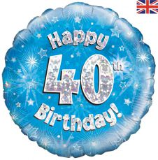 40th Happy Birthday Blue Holographic Balloon (18 Inches)