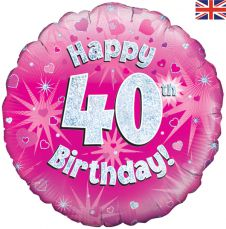 40th Happy Birthday Pink Holographic Balloon (18 Inches)