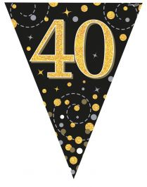 40th Sparkling Fizz Black & Gold Holographic Party Bunting 11 flags 3.9m