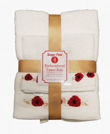 4Pk Embroidered Towel Bale Set - Assorted