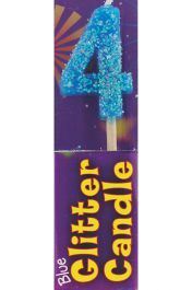 4th Birthday Blue Glitter Candle (Pack of 12)
