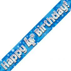 4th Happy Birthday Banner Blue Holographic (9 ft)