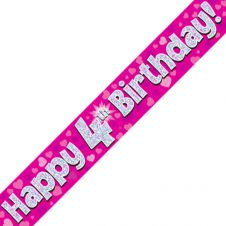 4th Happy Birthday Banner Pink Holographic (9 ft)