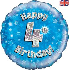 4th Happy Birthday Blue Holographic Balloon (18 Inches)
