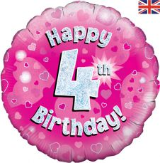 4th Happy Birthday Pink Holographic Balloon (18 Inches)